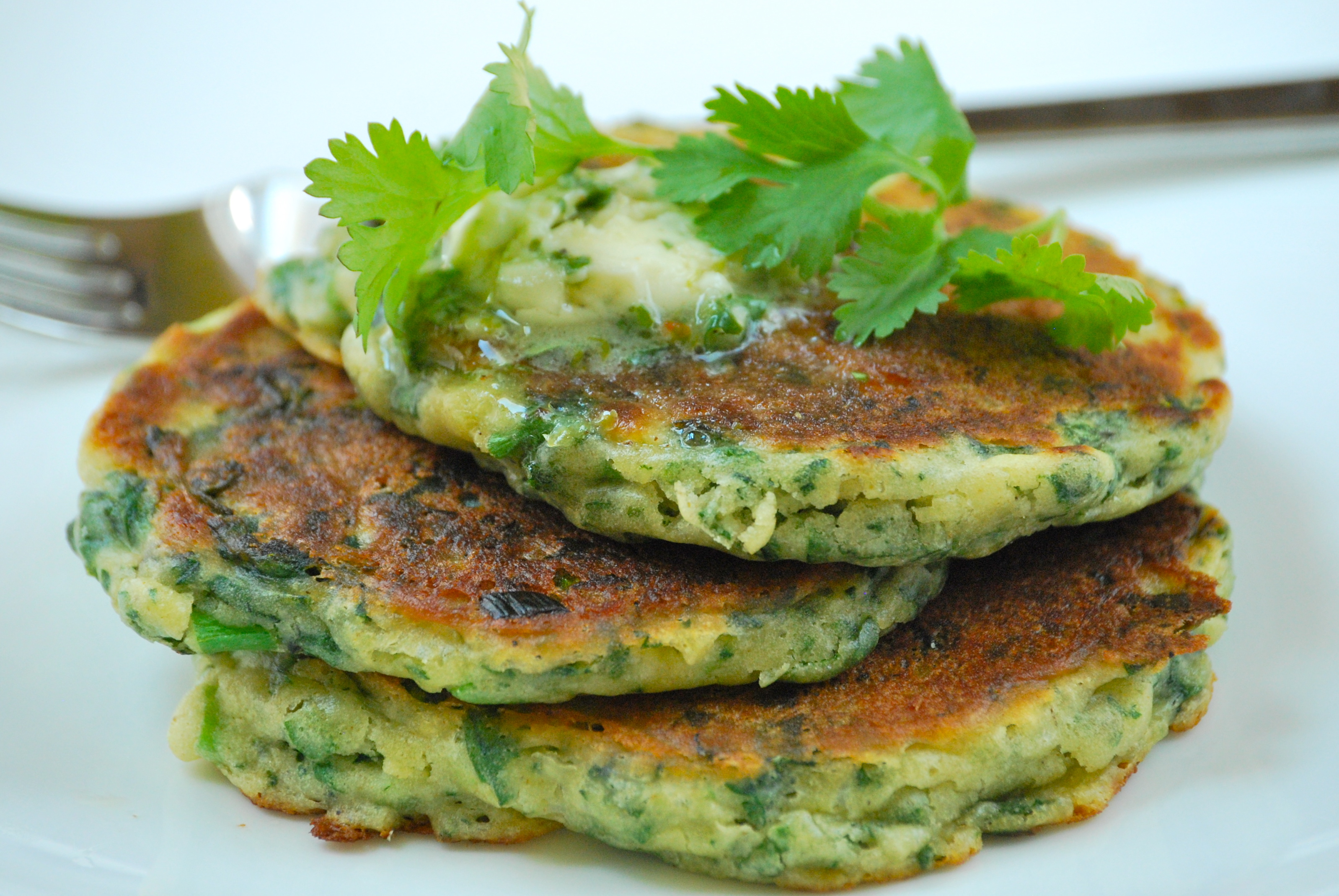 Savory Green Pancakes With Cilantro Lime Butter Relishing It