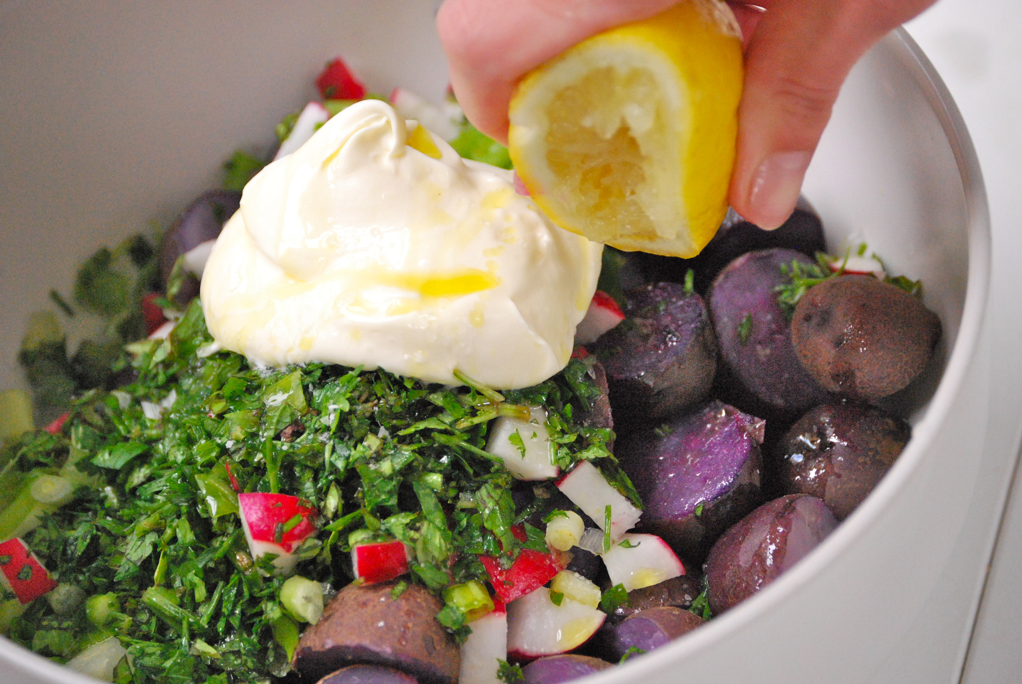 Creme Fraiche, Herb, and Purple Potato Salad | Relishing It