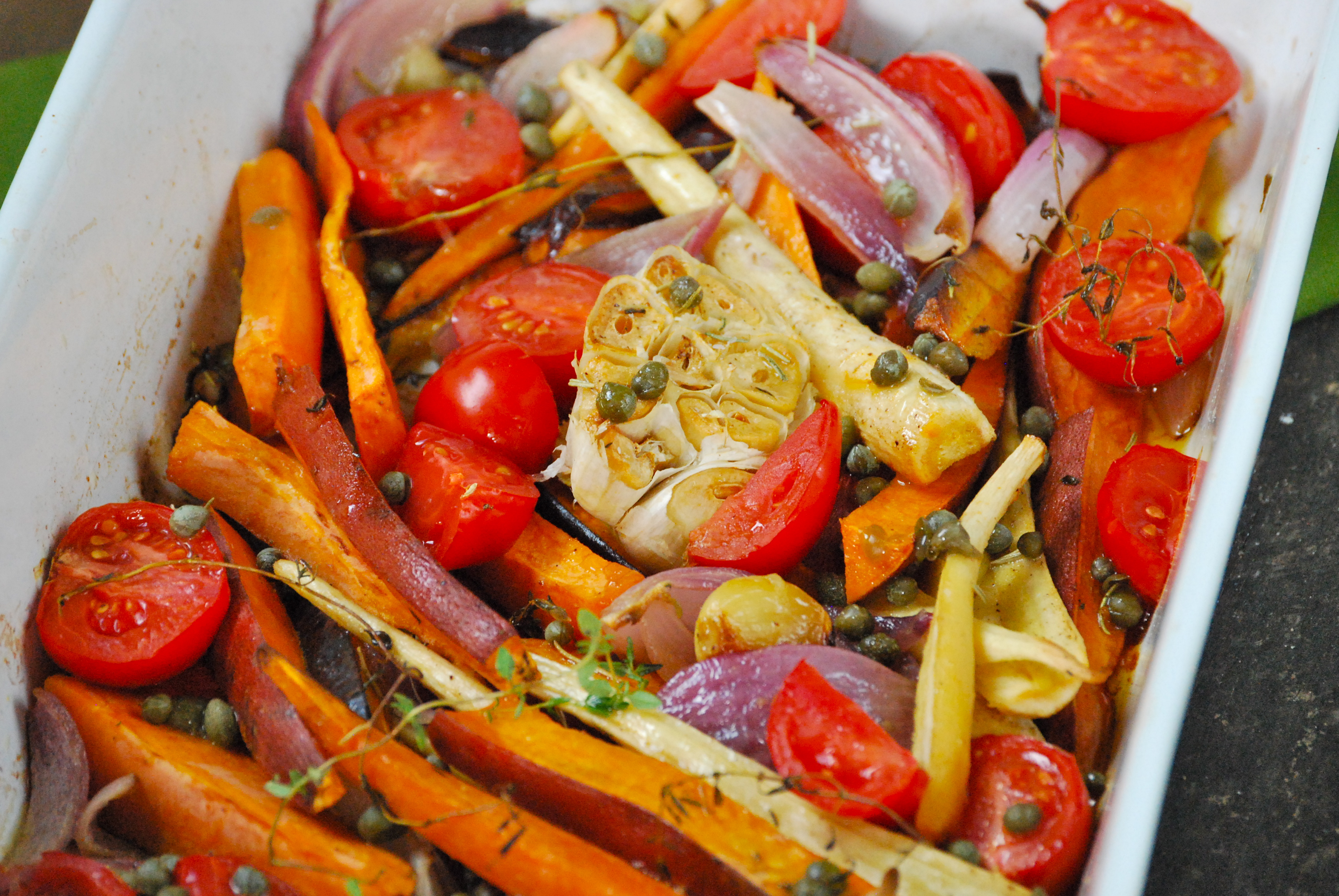 Roasted Vegetables with Caper Vinaigrette | Relishing It