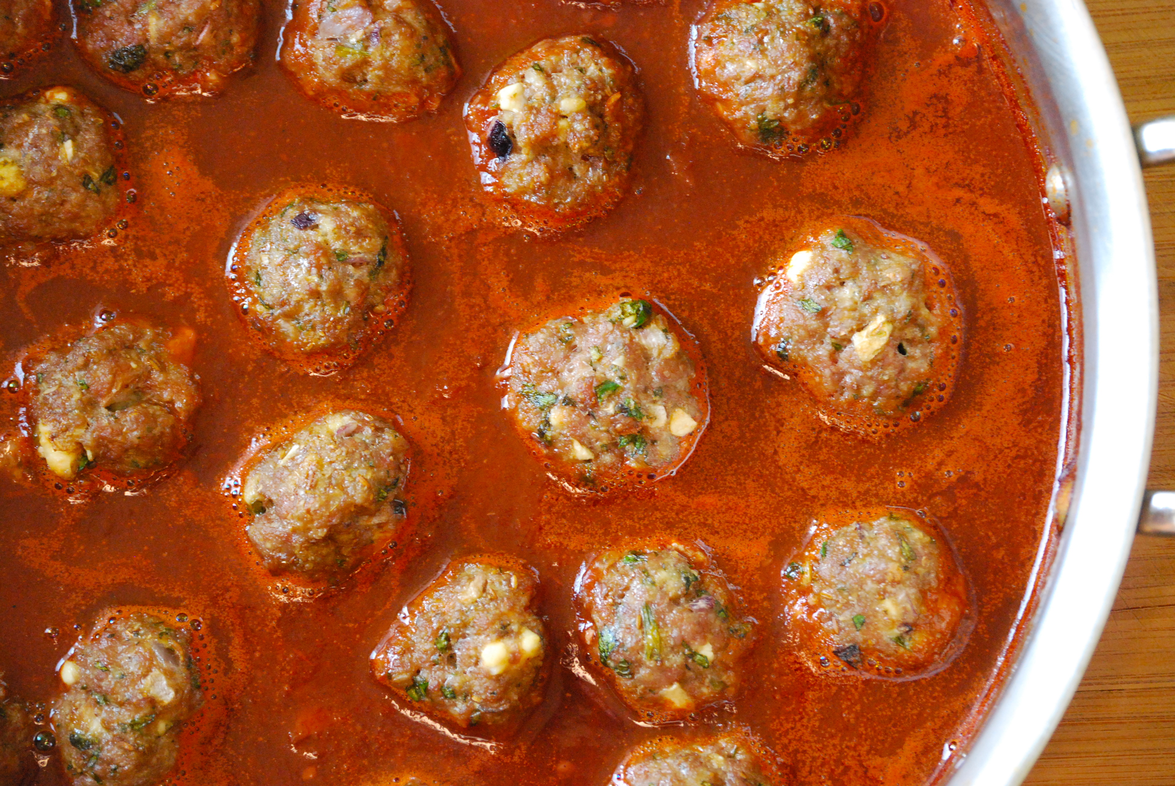 Lamb Meatballs in Red Wine Sauce with Mint Chimichurri ...