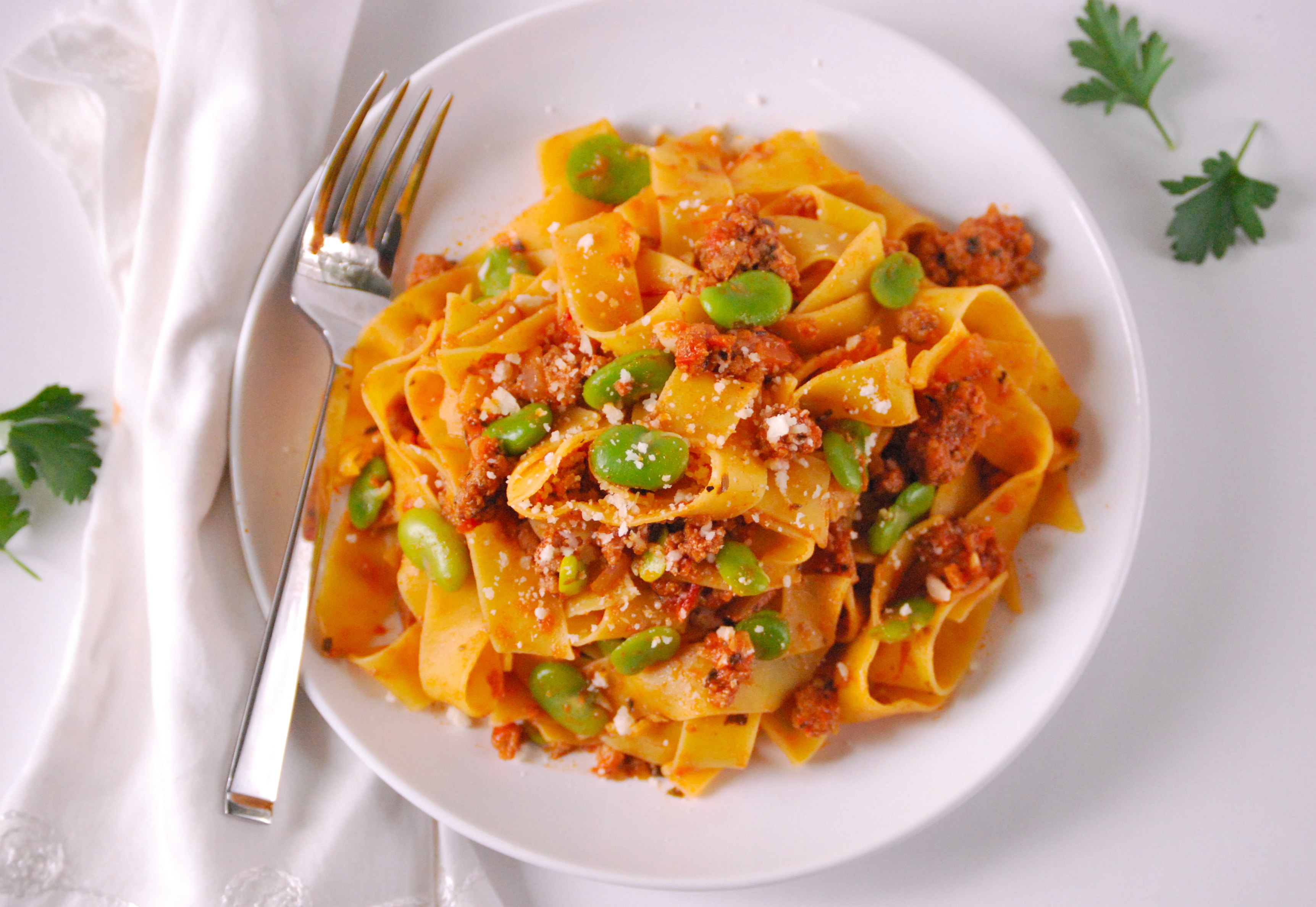 Pappardelle with Italian Sausage and Fava Beans | Relishing It