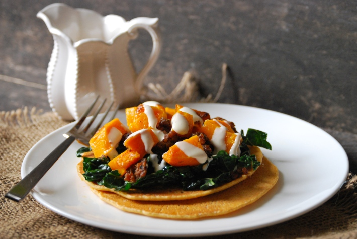 Socca with Roasted Squash, Kale, and Italian Sausage | Relishing It