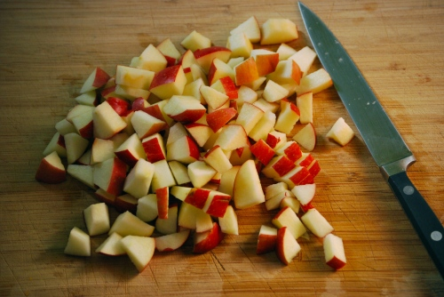Diced apples for Apple Challah via Relishing It