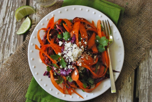 Simple Carrot Salad with Harissa and Cilantro via Relishing It