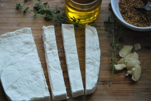 Spice-Marinated Feta with Simple Fougasse via Relishing It