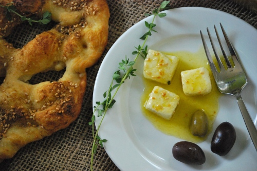 Spice-Marinated Feta with Simple Fougasse via Relishing It