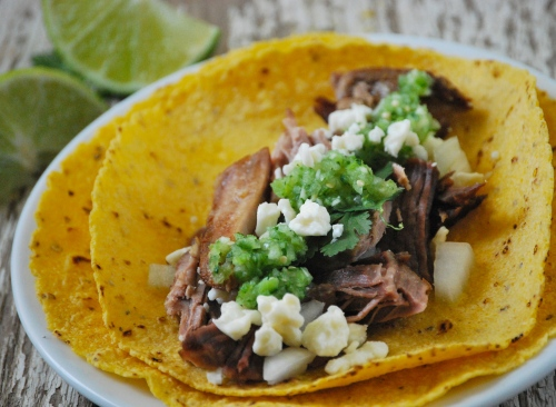 Carnitas Tacos and Fresh Tomatillo Salsa via Relishing It