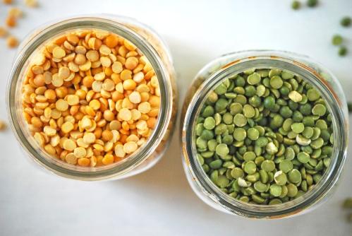 Salad of Green and Yellow Split Peas with Pesto via Relishing It