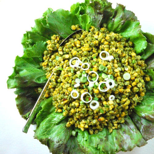 Salad of Green and Yellow Split Peas with Pesto via Relishing It