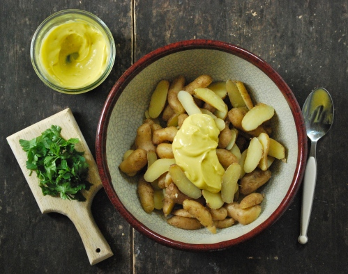 Fingerling Potato Salad with Homemade Mayonnaise via Relishing It