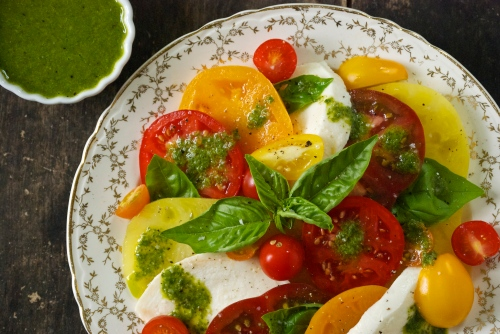 Caprese Salad with a Basil Vinaigrette | Relishing It