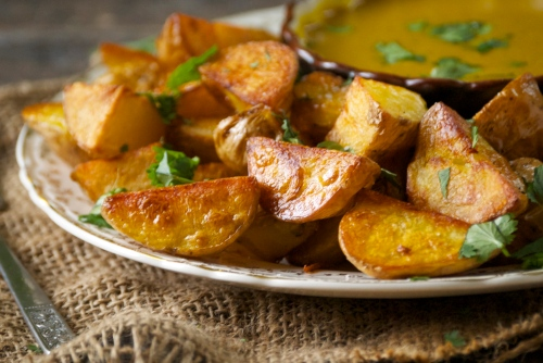 Roasted Potatoes with a Curry Dipping Sauce | Relishing It