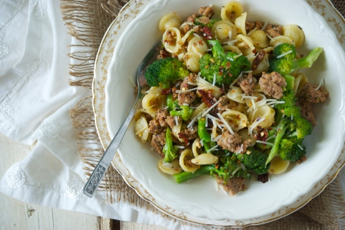 Orecchiette with Sausage, Broccoli, and Sun-Dried Tomatoes | Relishing It