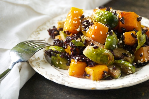 Ginger Sesame Butternut Squash, Brussel Sprouts, and Black Rice | Relishing It