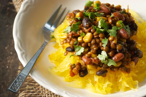 Vegetarian Lentil Taco Soup Over Spaghetti Squash | Relishing It