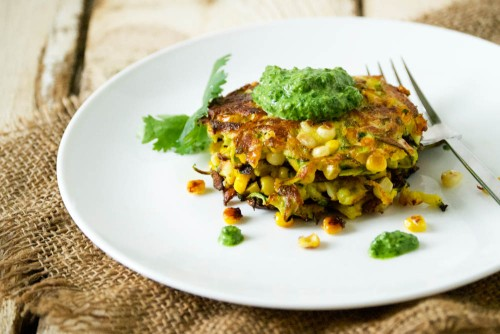 Curried Corn and Zucchini Fritters + Cilantro Mint Chutney | Relishing It