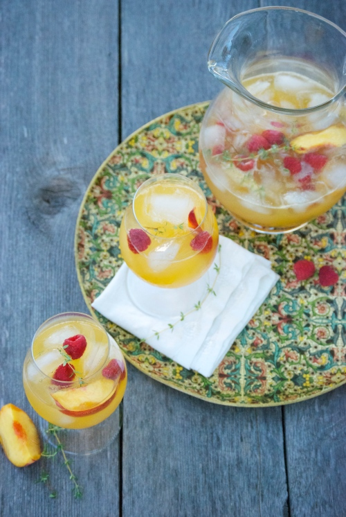 Peach Sangria with Chamomile and Thyme | Relishing It