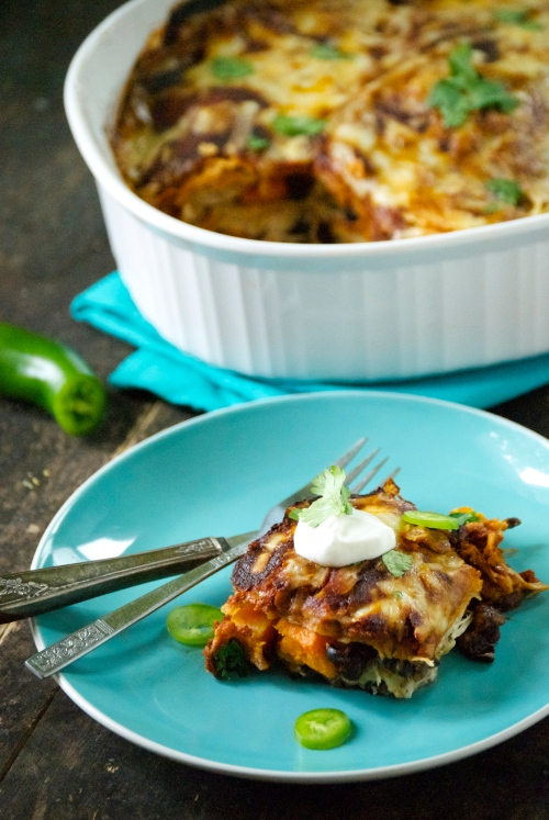 Enchilada Bake with Butternut Squash, Black Beans, and Shredded Chicken | Relishing It