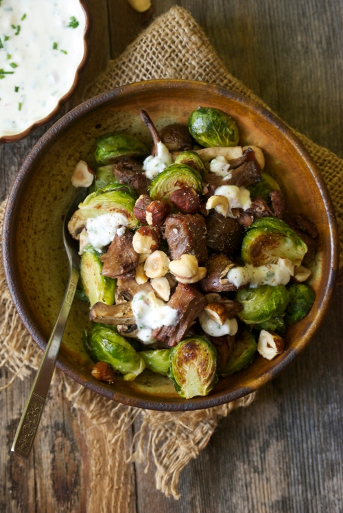 Roasted Brussel Sprouts, Mushroom, and Beef with Horseradish Cream Sauce | Relishing It
