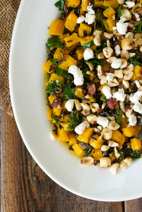 Wild Rice, Roasted Butternut Squash, and Kale with Citrus Curry Dressing | Relishing It