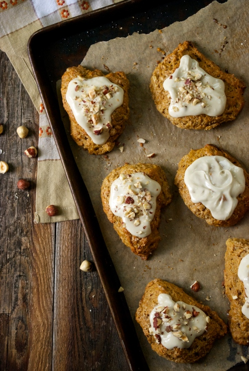 Pumpkin Scones with Maple Nutmeg Icing | Relishing It