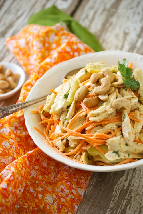 Lemony Artichoke Chicken Salad with Carrots | Relishing It